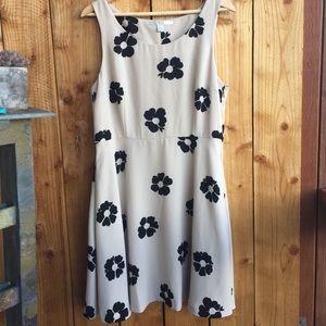 LC Lauren Conrad Nude/Beige Dress w/ Floral Print
